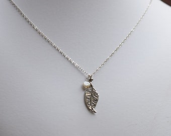 Sterling Silver Oxidized Leaf With Pearl Necklace, Sterling Silver Necklace, Leaf Necklace, Pearl Necklace, Sterling Silver Necklace, N018