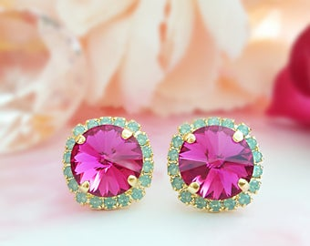 Hot Pink Earrings - Pink and Mint Earrings - Fuchsia Rhinestone Earrings - Green Opal Earrings - Rhinestone Studs - Swarovski Jewelry E3346