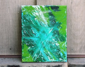 Abstract Painting - Green Original Acrylic - Summers End  - Minnow the Painting Pony