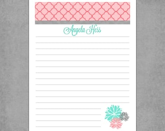 Pink Moroccan Print Letterhead with Notebook Lines & Aqua, Grey and Pink Flowers - Personalized Custom Notepads - Assorted Colors *Kristina*