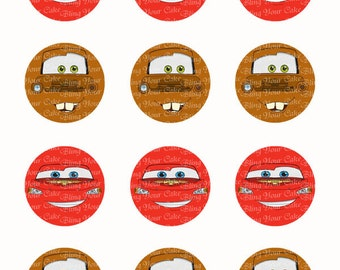 Disney Cars Lightning McQueen & Tow Mater Face Inspired Edible Icing Cake Decor Toppers  - DC5