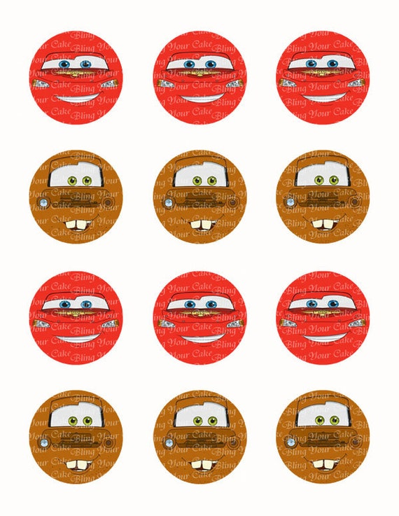 Disney Cars Lightning McQueen Tow Mater Face Inspired Edible