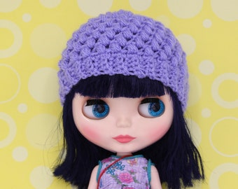 Cute purple Blythe hat/helmet/beanie