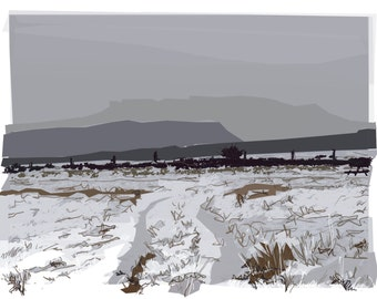 Art card (blank inside)  Title:  Carl Wark and Higger Tor in Snow  Size A5 (21x15cm)
