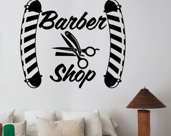 Barbershop Vinyl Decal Custom Wall Sticker Logo Art Barber's Hair Haircut Hairdressing Salon Window Decorations Interior Decor bsh2