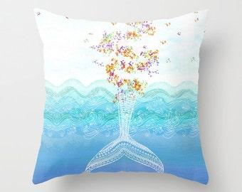 Whale Pillow Cover or insert 16x16, 18x18, 20x20 22x22 Fish Animals Blue Sea Ocean Beach Decor Handmade Cushion Nautical Gift Birthday Cute