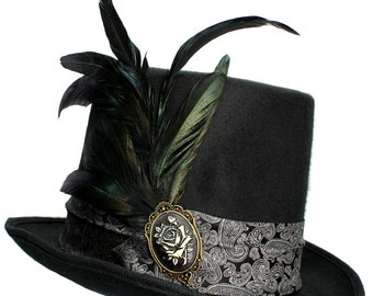 Gothic Elegance Large Black Felt Top Hat Steampunk Traveler Mens Cosplay Topper
