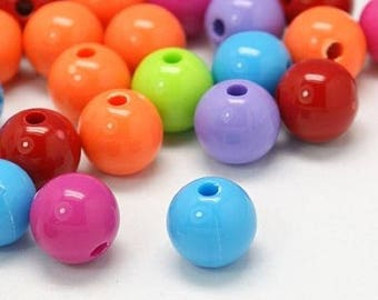 Set of 25 round beads - multicolored bright colors - 10 mm T25