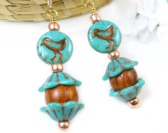 Bird Earrings, Turquoise Flower Earrings, Blue Bird Flower Earrings, Woodland Earrings, Nature Jewelry, Bohemian Jewelry, Gold Drop Earrings
