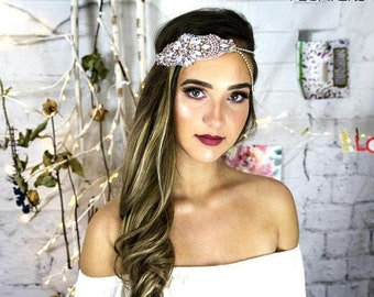 Rose Gold Bridal Headpiece, Bohemian Headband, rose gold hair accessories, Wedding hair jewelry, hair band