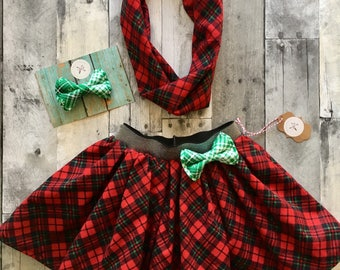 Girls christmas skirt, girls plaid skirt, girls holiday skirt, red and green skirt, christmas outfit, family photo outfit