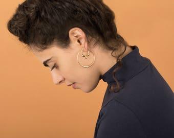 Mercury drop hoop size L, earrings, silver hoops, gold hoops,amorphous jewelry, Christmas gift for her, Hanukkah present,quick silver baladi