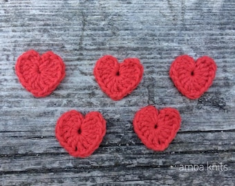 Valentine's Day appliques Hearts, Crochet Hearts, Crochet Appliques