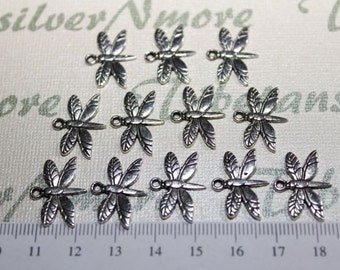 20 pcs per pack 20x15mm One side flying Firefly Charm Antique Silver Finish Lead free Pewter