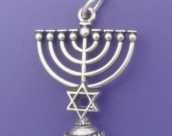 MENORAH Charm .925 Sterling Silver, Jewish STAR Of David, Chanukah, Hannukah Pendant - lp2695