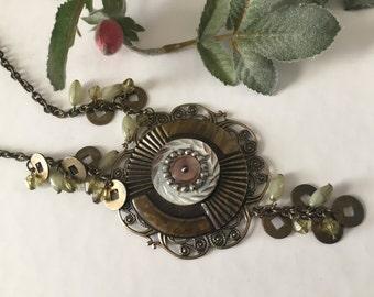 Olive Green Necklace ,  Statement Necklace,  Mother of Pearl Button Jewelry, Up cycled Jewelry by VintageRedo
