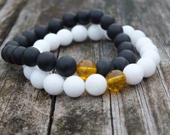 Citrine Gemstone Bracelet Set   Couples Bracelets   Opposites attract   Gift for Him   Gift for Her   Onyx Bracelet   Long Distance Bracelet