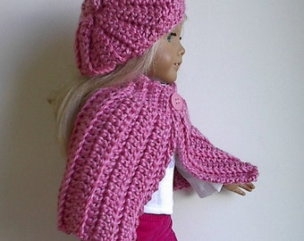 """18"""" Doll Clothes Crocheted Doll Cape and Beret in Rose Pink Handmade to fit the American Girl and Other 18 Inch Dolls"""