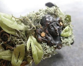 Brass Cuff Bracelet Gaia Goddess of the Earth Handfasting Jewelry