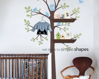 Tree Wall Decal - Shelving Tree Decal with Birds - Three Colors