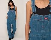 Dickies Overalls 90s Denim Bib Overalls Baggy Dungarees Long Jean Pants Grunge Pants Suspender Hipster Carpenter Medium Large