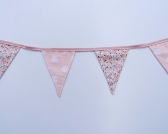 Pink Polka Dot and Floral Bunting Flags