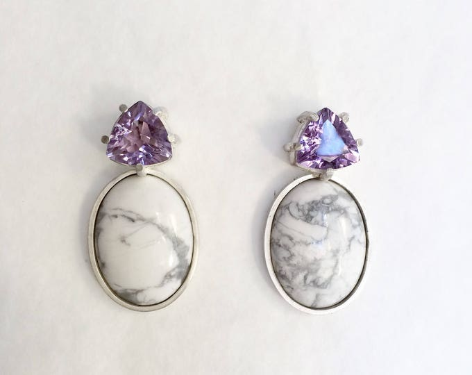 Amethyst - howlite - earrings - silver 925 - one of a kind handmade jewelry - summer earrings