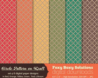 Circle Pattern on Kraft Digital Paper Pack: set of 6 digital papers in red, yellow, brown, orange, teal, and green  Instant Download