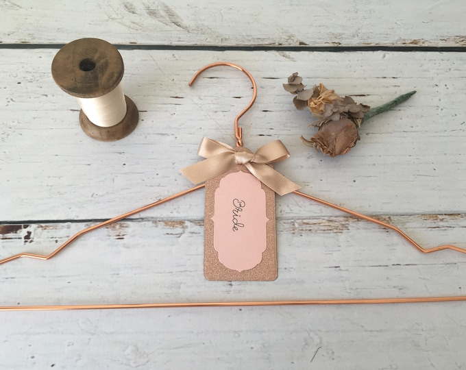 Rose Gold Wedding Hanger with Personalised Rose Gold Glitter Label
