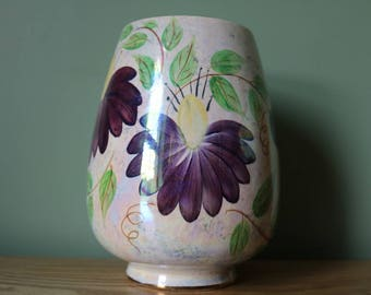 Stunning large Old Courtware lustre hand painted vases.  In very good condition
