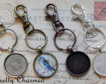 100 Photo Key Chain Kits - 1 Inch Round Pendant Trays, Glass Cabochons and Lobster Clasp Key Chain - Choice of Colors