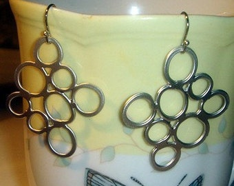 bubble circle earring silver plate