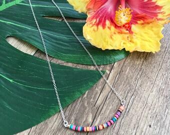 New! Multicolor Vinyl Tradebead Bar Necklace