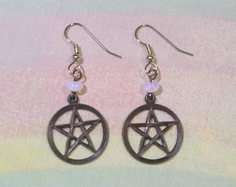 Pastel Goth Earrings, Black Pentagram Earrings, Gothic Earrings, Witch Earrings
