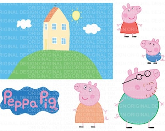 Dxf Png eps ai Peppa Pig Clipart LAYERED Vector Cut Files Cricut Design Silhouette Cameo Birthday Party Supply Decoration Vinyl Tshirt Decal