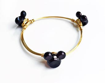 Black Mickey Mouse Inspired Wire Wrapped Bangle Bracelet Minnie Mouse Inspired jewelry