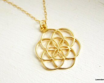 Gold Mandala Necklace , Seed Of Life Charm Necklace , Modern Everyday Jewelry , Gold Necklace
