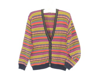 80s cardigan sweater * colorful vintage sweater * pattern knit cardigan sweater * medium