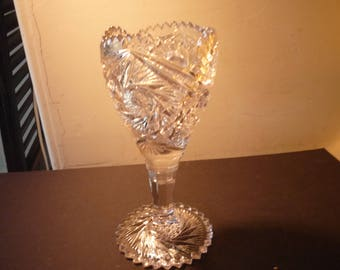 Heavy Glass Goblet Compote on pedestal - EAPG Mid Century 1950s -  Decorated Pressed Glass - unusual decor piece - centerpiece display