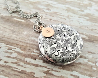 Rose Gold Initial Locket-Antique Silver Locket-Personalized Locket-Bridesmaid necklace-Vintage Silver Locket-Bridesmaid Locket-Flowergirl