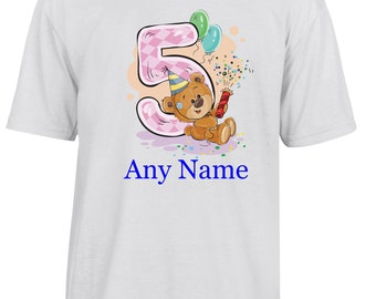 Personalised 5th Birthday T Shirt  *Choice of name colours*