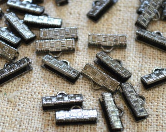 20pcs 13x7mm Clamps Crimp Ribbon End Gunmetal Textured Finish