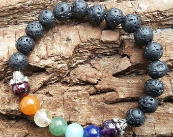 Chakra Jewelry, 7 Chakra Stone bracelet, Yoga Bracelet, Lava Beads