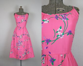 1970's Pink Cotton Sun Dress with Purple Flowers / Size Small