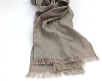 pure linen scarf - natural flax -  women men