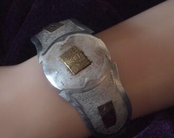 Sterling Silver & 18k Gold Accent Mayan / Aztec Cuff Bracelet