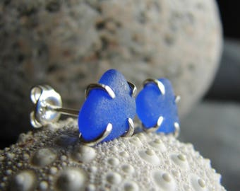 Sea glass studs / gift for her / blue sea glass jewelry / little sea glass earrings / tiny beach glass studs / sterling silver earrings