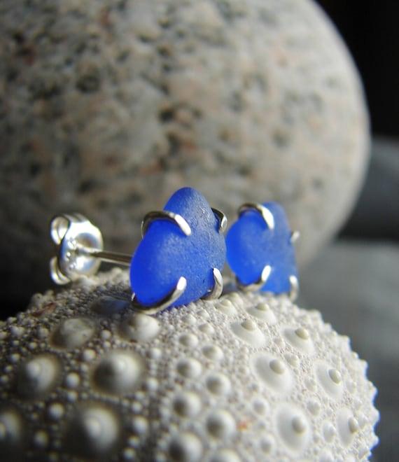 Tiny Ocean sea glass stud earrings in cobalt blue