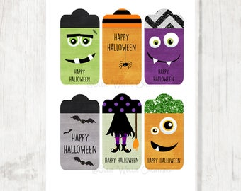 Halloween Party Tags   Party Favor   Gift Tags - INSTANT DOWNLOAD