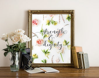 Strength and dignity, Gift for her, Gift for mom, Christian art, Christian wall art, Home decor, Bible quote art, Scripture print, BD-1066